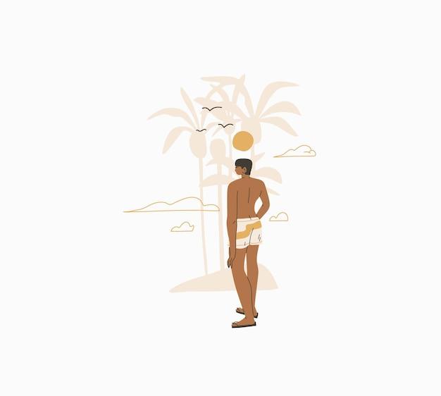 Abstracte grafische zomercartoon, illustraties print met bohemien mooie man zonnebaadt