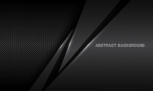 Abstracte grijze driehoek metalen overlapping op donkere cirkel mesh ontwerp moderne futuristische achtergrond.