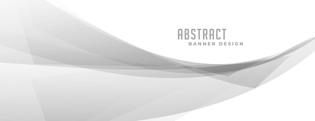 Abstracte grijze golvende vorm op witte banner