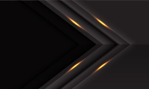 Abstracte grijze gouden lichte pijlrichting met lege ruimteontwerp moderne luxe futuristische vectorillustratie als achtergrond.