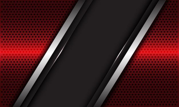 Abstracte grijze lege banner zilveren lijn overlapping op rode metalen cirkel mesh ontwerp luxe futuristische achtergrond.