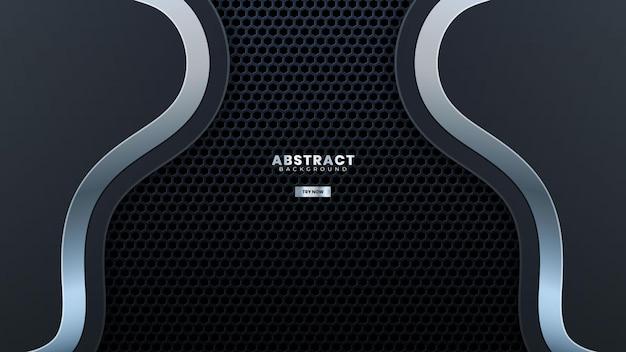 Abstracte grijze metalen kromme ontwerp met geperforeerde moderne luxe achtergrond vector illustration.suitable voor webbanner, posters, flyer, dekking, brochure