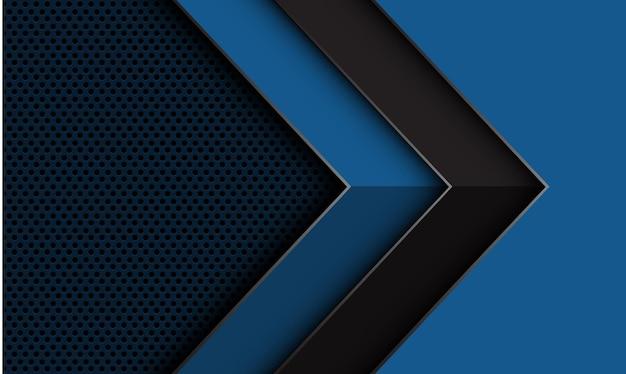 Abstracte grijze pijl geometrische schaduw richting op diepblauwe cirkel mesh ontwerp futuristische achtergrond