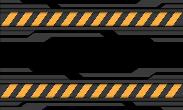Abstracte grijze zwarte cyber gele lijn voorzichtigheidssymbool moderne futuristische technologie achtergrond illustratie.