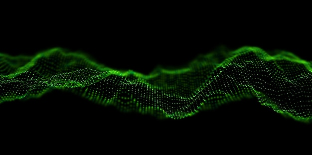 Abstracte groene deeltje achtergrond stroomgolf met stip landschaptechnologie vectorillustration