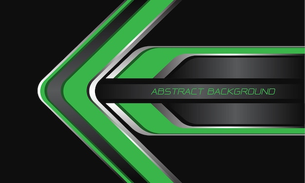 Abstracte groene grijze zilveren pijlrichting op zwarte moderne luxe futuristische technologieachtergrond