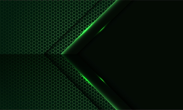 Abstracte groene lichtpijl op hexagon netwerkpatroon