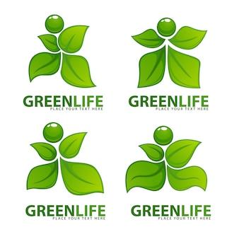 Abstracte groene mensen voor uw ecologie- en gezondheidslogo