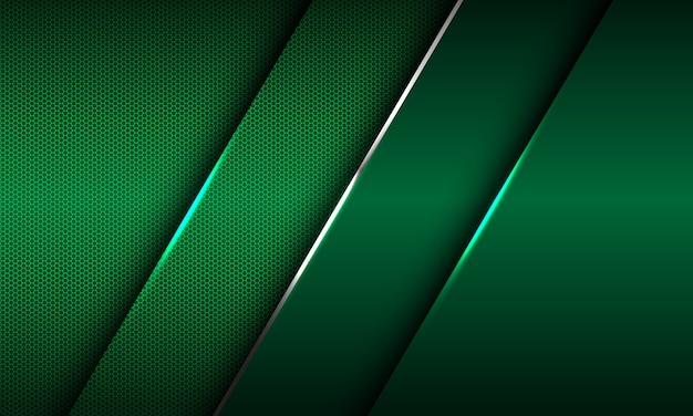 Abstracte groene metallic glanzende zilveren lijn schuine streep overlapping op zeshoek mesh ontwerp moderne luxe futuristische achtergrond.
