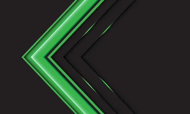 Abstracte groene pijlrichting op grijs met de moderne futuristische achtergrond van het lege ruimteontwerp
