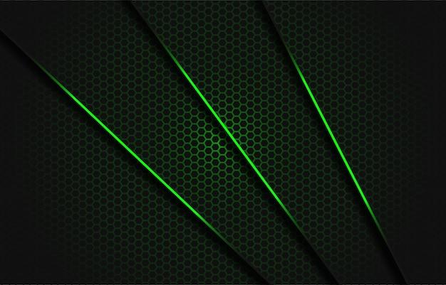 Abstracte groene schuine streep donkergrijze driehoek met groene lijn op hexagon netwerkpatroon