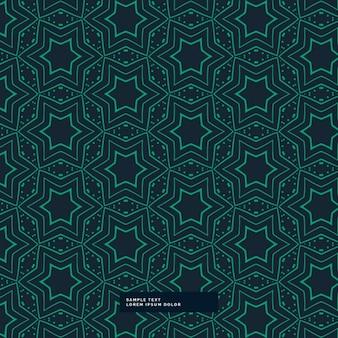 Abstracte groene stervorm patroon op een blauwe achtergrond