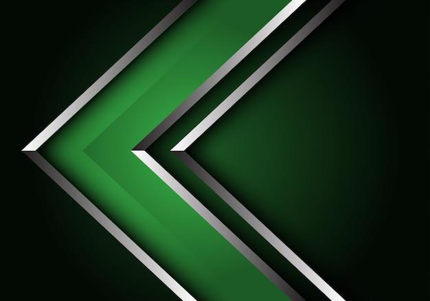 Abstracte groene zilveren lijn pijl richting luxe futuristische achtergrond.