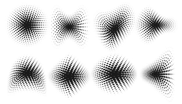 Abstracte grunge halftone vervormde vormen achtergrond