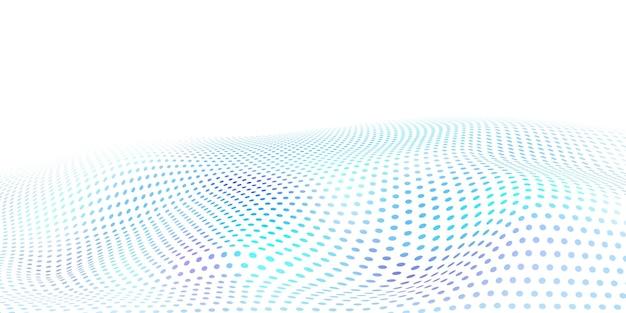 Abstracte halftone achtergrond met golvend oppervlak gemaakt van lichtblauwe stippen op wit