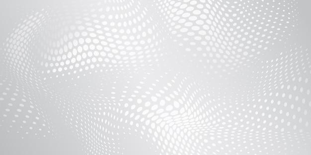 Abstracte halftone achtergrond met golvend oppervlak gemaakt van stippen in witte en grijze kleuren