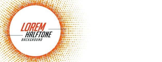 Abstracte halftone banner in oranje cirkelvormige stijl