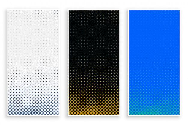 Abstracte halftone banners in drie kleuren