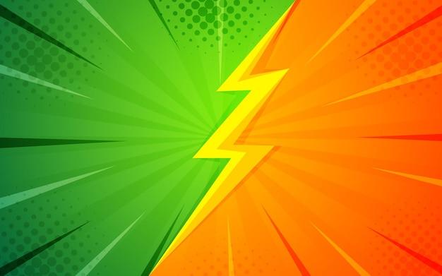 Abstracte halftone strip cartoon zoom donder groen vs oranje. halftoontextuur en superheldenachtergronden Premium Vector