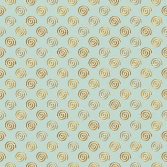 Abstracte halve drop repeate gouden metalen spiraal mofit naadloze patroon achtergrond