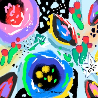 Abstracte hand geschilderde bloemenachtergrond