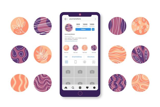 Abstracte hand getekend instagram hoogtepunten collectie