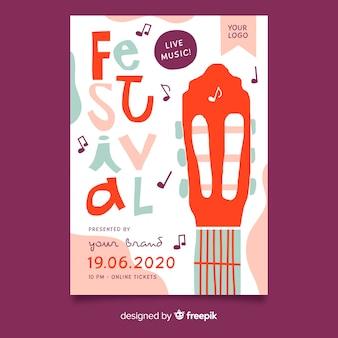 Abstracte hand getekend muziekfestival poster
