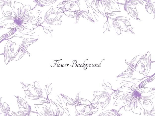 Abstracte hand getekend paarse bloem decoratieve achtergrond