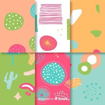Abstracte hand getekend patroon set