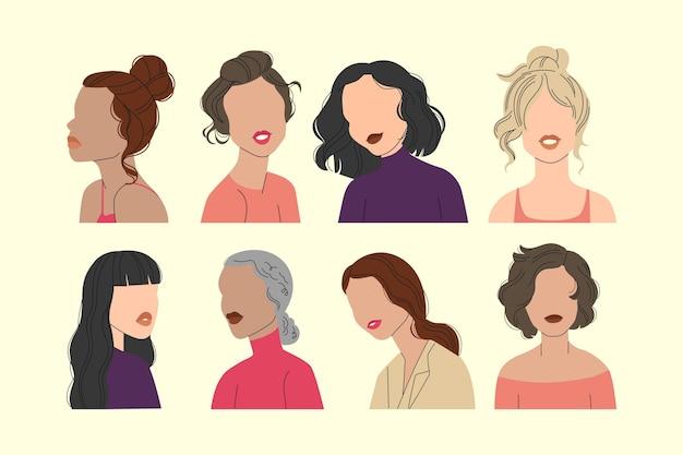 Abstracte hand getekend vrouwen portret collectie
