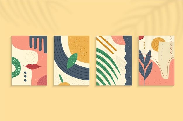 Abstracte hand getekende vormen covers pack