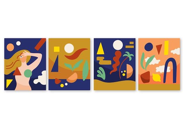 Abstracte hand getekende vormen covers
