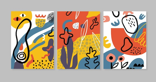 Abstracte hand getekende vormen dekken collectie