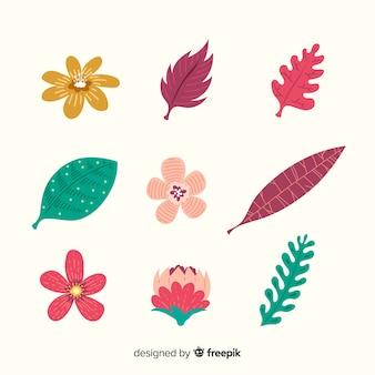 Abstracte hand getrokken bloem en bladinzameling