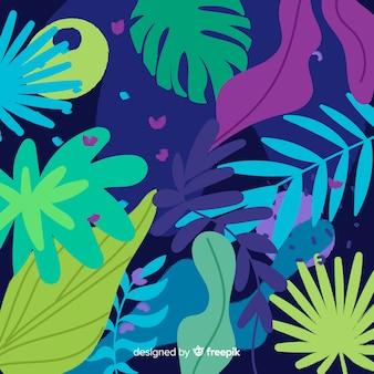 Abstracte hand getrokken bloemen en bladeren