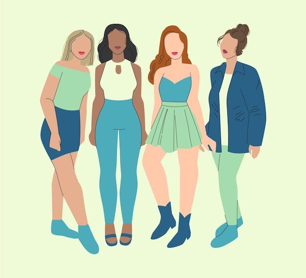 Abstracte hand getrokken groep vrouwenillustratie