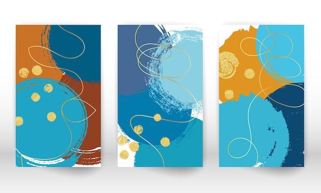 Abstracte hand getrokken imitatie aquarel effect ontwerpelementen. geometrische moderne kunstvormen. doodle lijnen, gouden deeltjes.