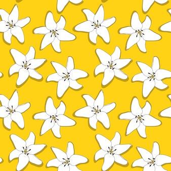 Abstracte hand getrokken lilly bloem naadloze patroon achtergrond. illustratie