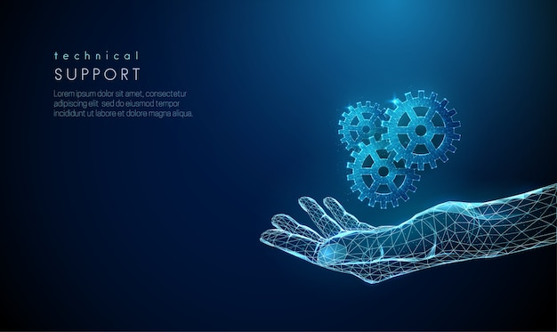 Abstracte hand met tandwielen geven. laag poly-stijl ontwerp. blauwe bloeddonor dag concept. moderne geometrische achtergrond. lichte verbindingsstructuur van draadframe.
