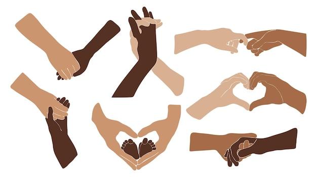 Abstracte handen geïsoleerd, boho paar hand voor valentijnsdag