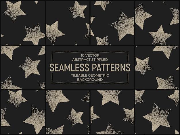 Abstracte handgemaakte gestippelde naadloze patronen vector set