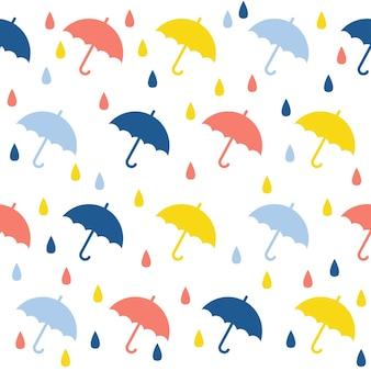 Abstracte handgemaakte paraplu en drop naadloze patroon achtergrond. kinderachtig handgemaakt behang voor ontwerpkaart, babyluier, luier, plakboek, vakantiepapier, textiel, tasafdruk, t-shirt enz.