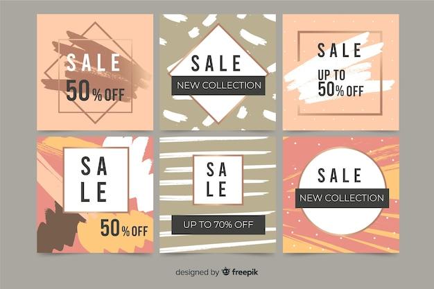 Abstracte handgeschilderde verkoop instagram postinzameling
