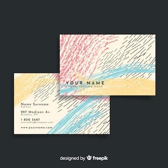 Abstracte handgeschilderde visitekaartje met lijnen