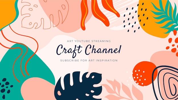 Abstracte handgetekende ambachtelijke youtube kanaalart Gratis Vector