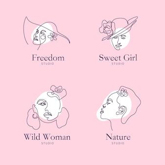 Abstracte handgetekende vrouw logo collectie