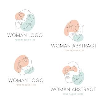Abstracte handgetekende vrouw logo sjabloon collectie