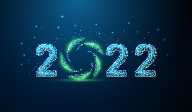 Abstracte happy 2022 nieuwjaar wenskaart met groene bladeren in cirkel laag poly stijl ontwerp vector