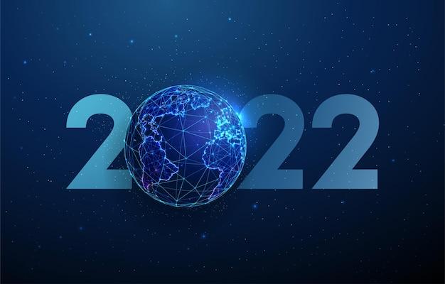 Abstracte happy 2022 nieuwjaar wenskaart met planeet laag poly stijl ontwerp abstracte achtergrond