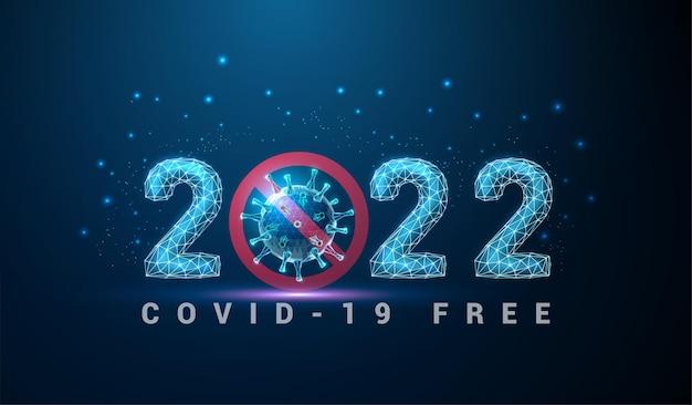 Abstracte happy 2022 nieuwjaarswenskaart met coronavirus laag poly-stijlontwerp wireframe-vector